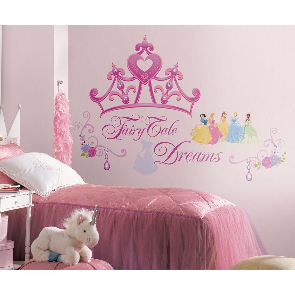 DISNEY PRINCESS CROWN Wall Mural STICKERS Girls Pink Tiara