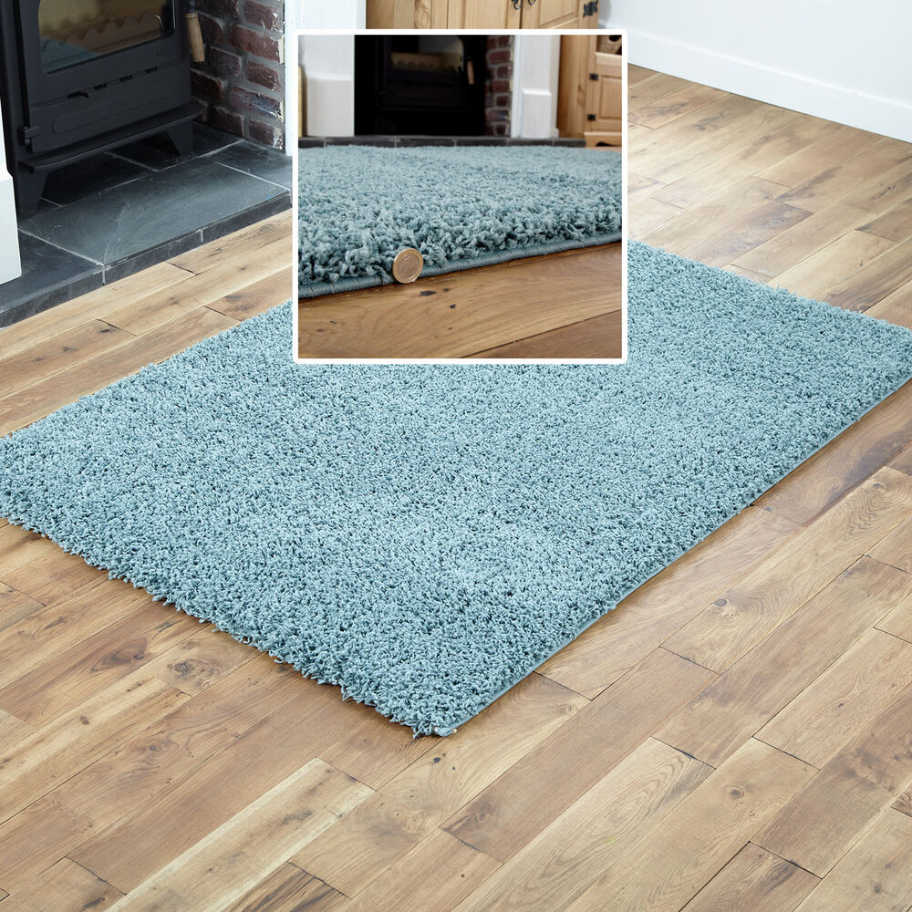 Small to extra large modern rug duck egg blue thick 5cm for Thick area rugs sale