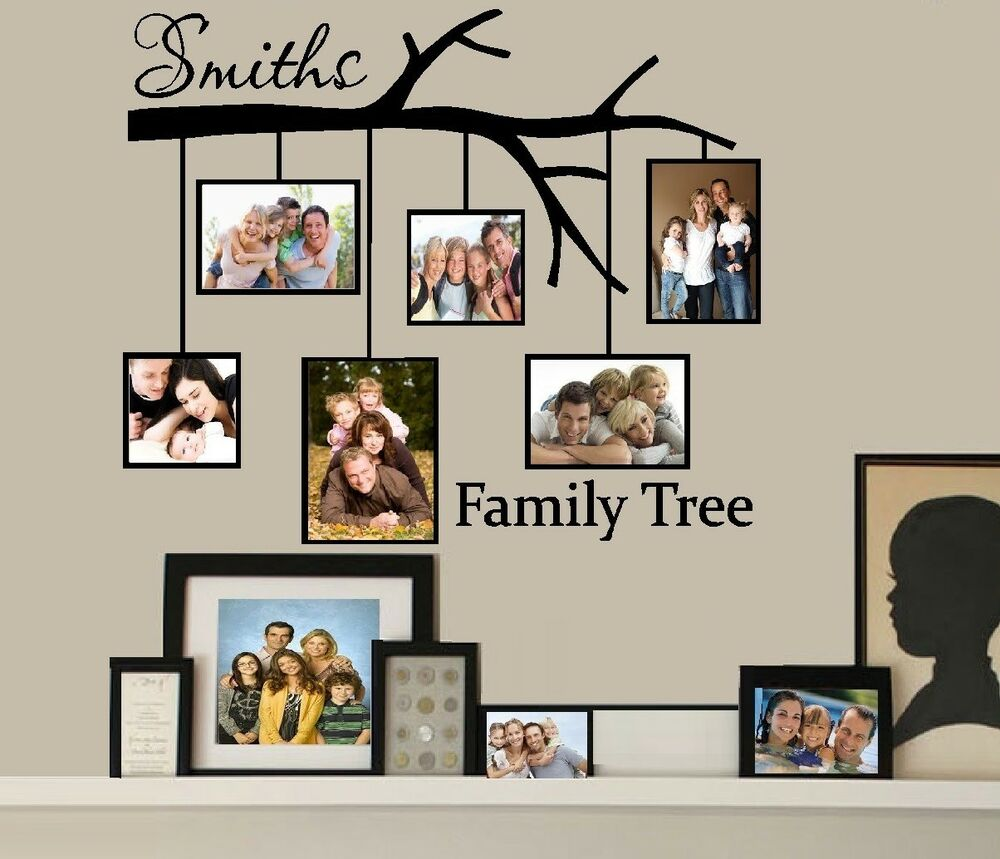Family Tree with Picture Frames Custom Name Wall or