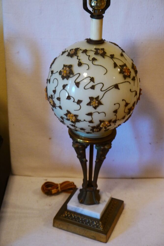Vintage Custard Deco Globe Table Lamp With Applied Flower
