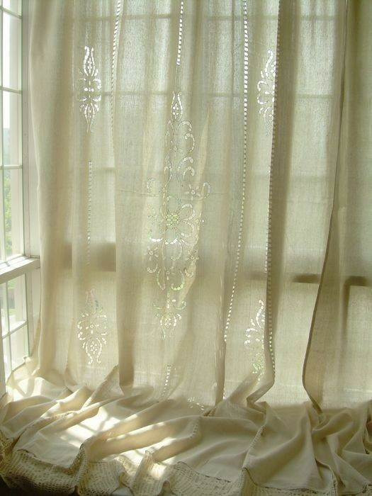 New Tab Top Embroidered Hollow Out Cotton Linen Crochet Lace Curtain F08 Ebay
