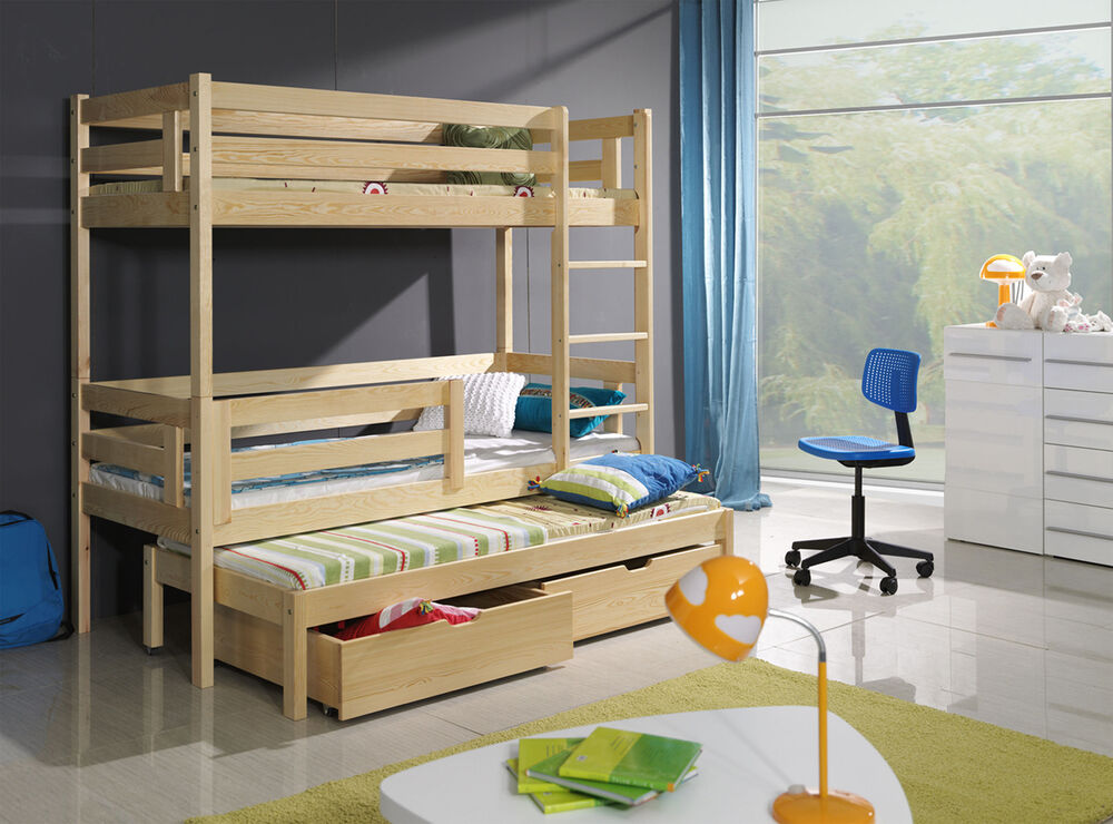 new wooden childrens triple bunk beds basic foam mattresses drawers 3ft strong ebay. Black Bedroom Furniture Sets. Home Design Ideas