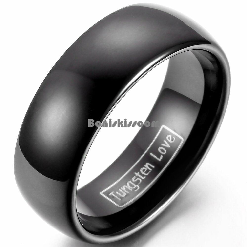 wedding ring mens 8mm tungsten carbide black wedding band men s women s 9967