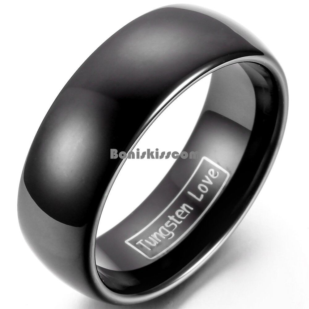 mens black wedding rings 8mm tungsten carbide black wedding band men s women s 5788
