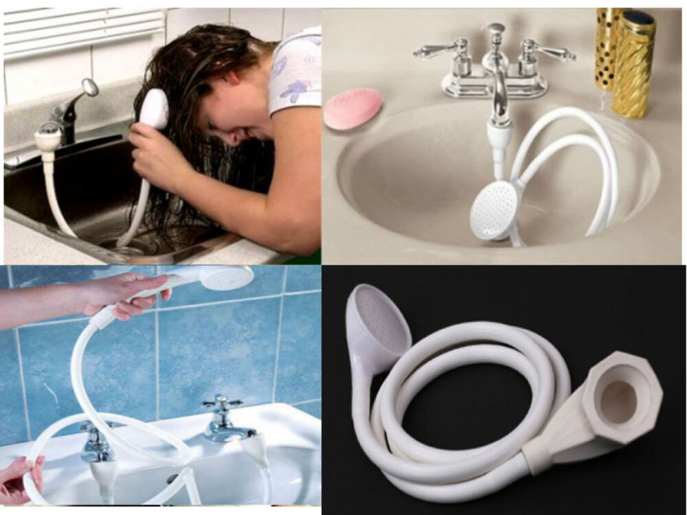 Single double tap bath sink shower head hose spray hairdresser pet push on mixer ebay for Bathroom sink backing up into tub