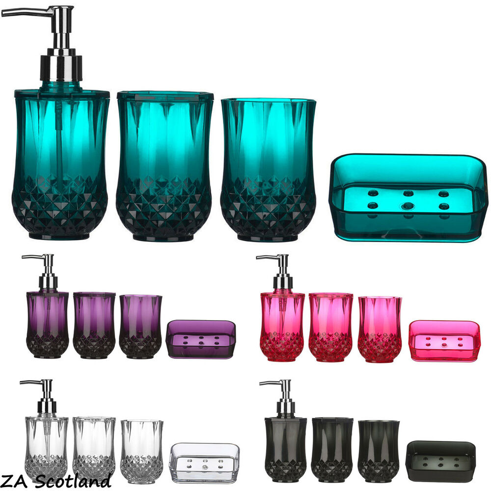 Memphis bath accessory collection in teal bed bath amp for Teal bathroom accessories sets