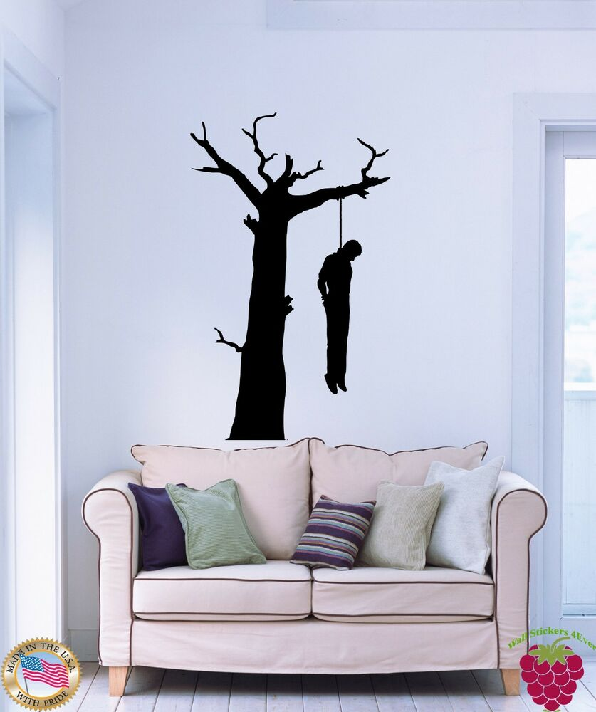 Wall Stickers Vinyl Suicide Man Hanging Himself On A Tree