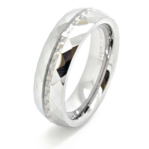 6mm Faceted Tungsten Carbide White Carbon Fiber Inlay Wedding Band Sizes 4 15