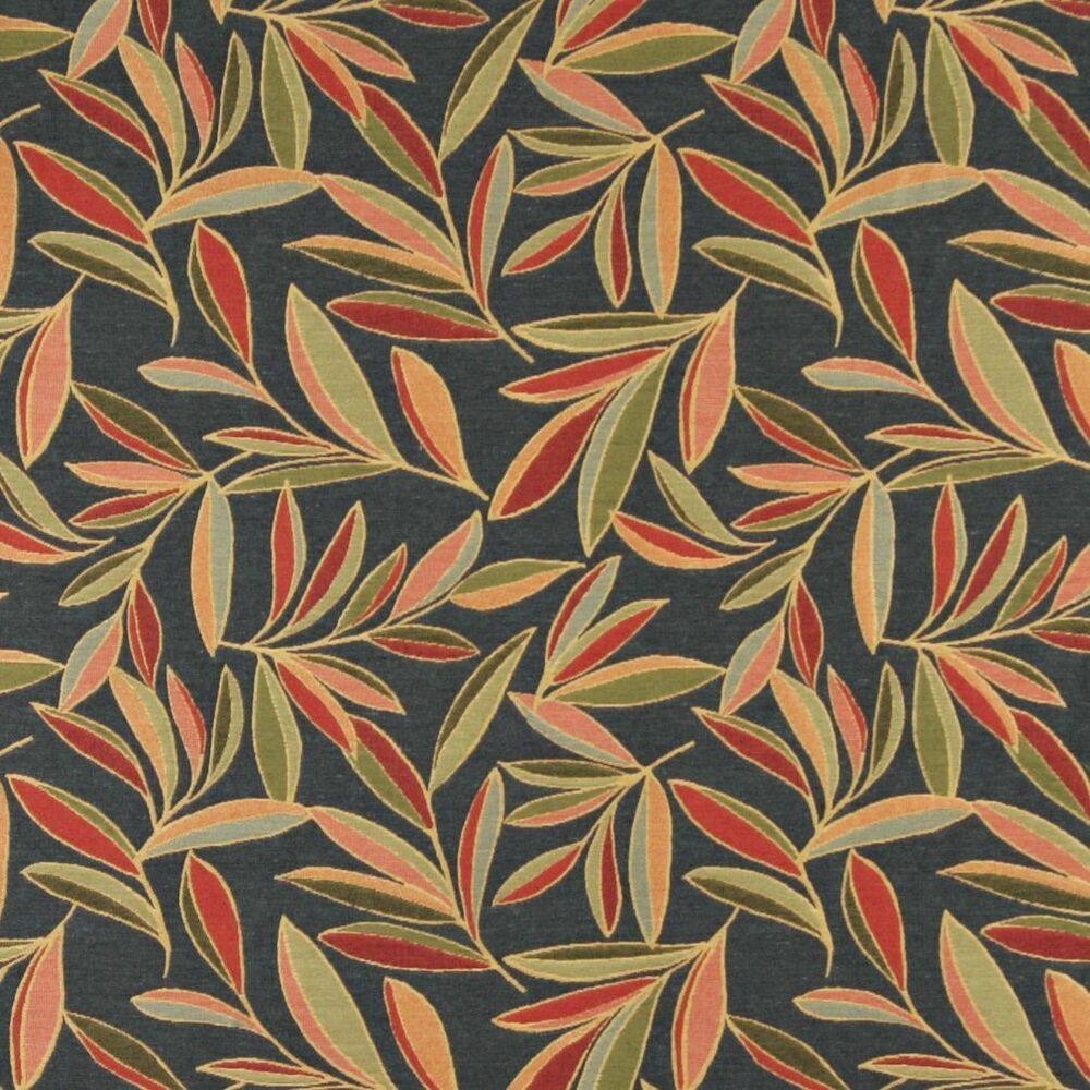 A0022c red green blue foliage leaf contemporary upholstery for By the yard fabric