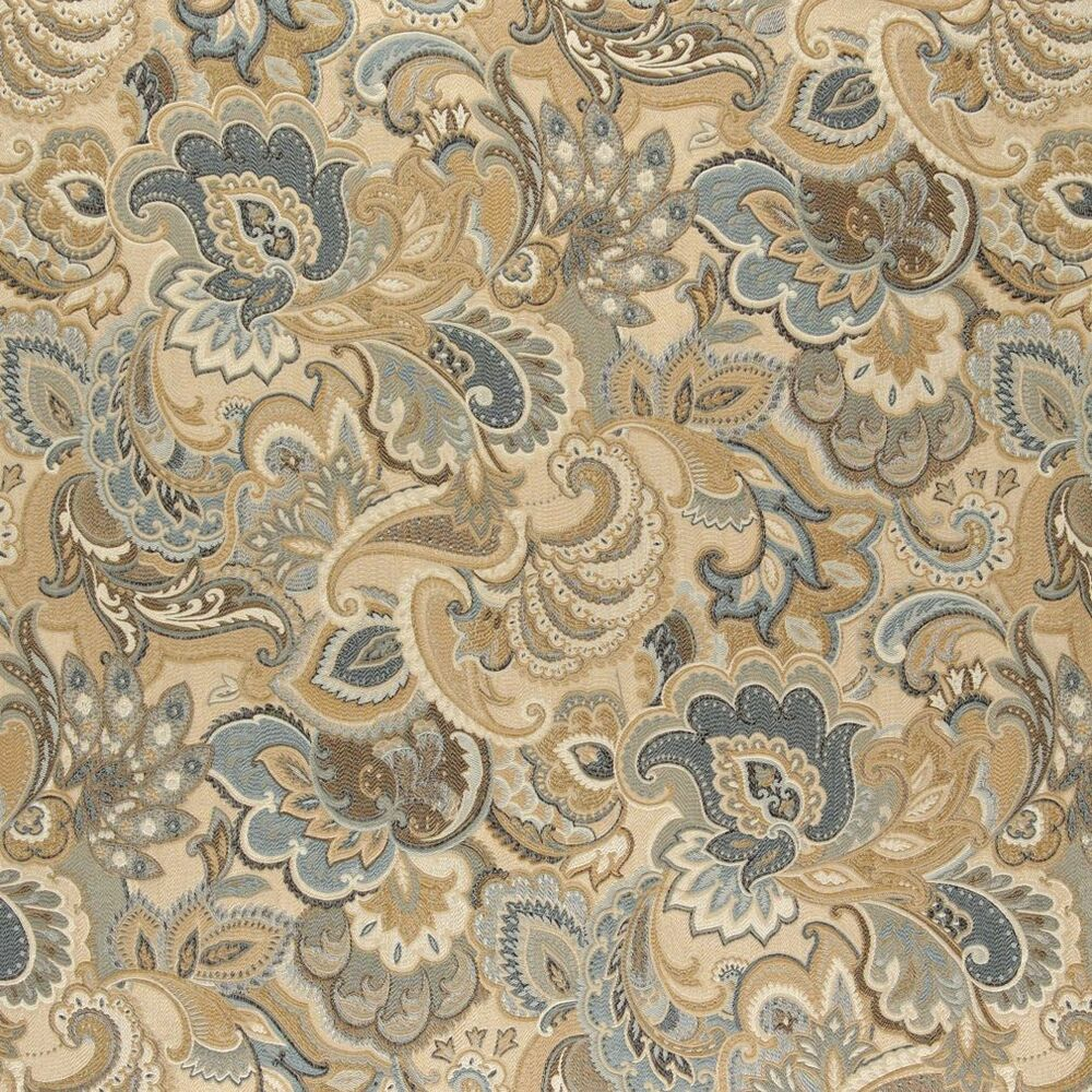 A0025a gold blue and green abstract paisley upholstery for Upholstery fabric
