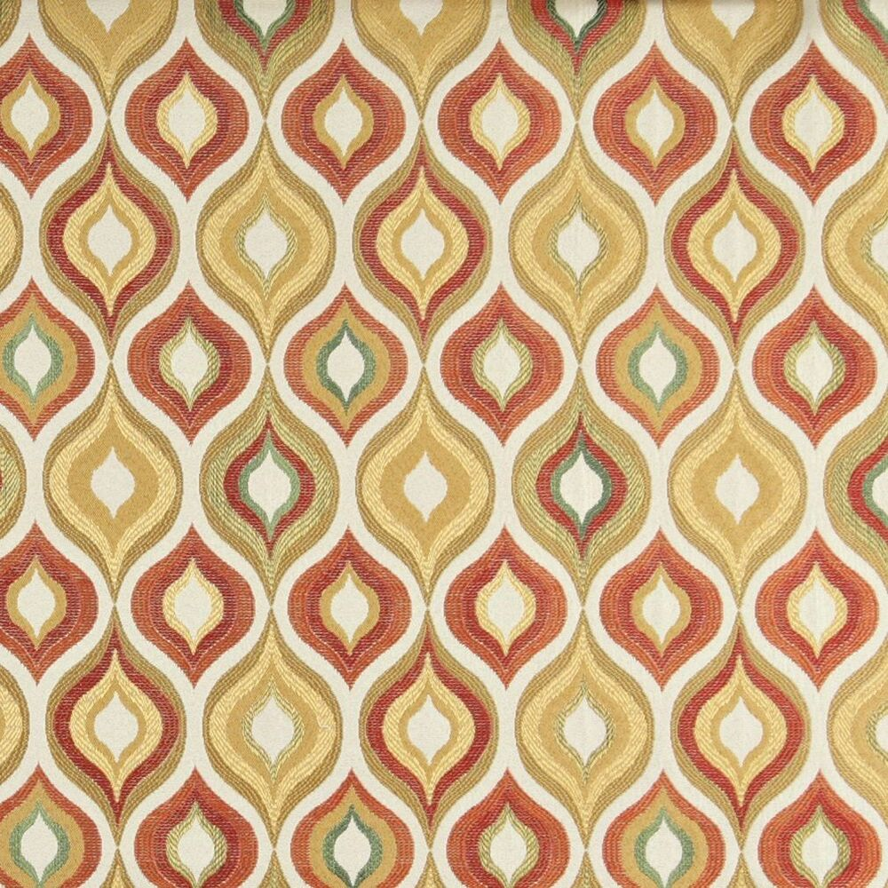 A0019c gold red green orange bright contemporary for Modern fabrics textiles