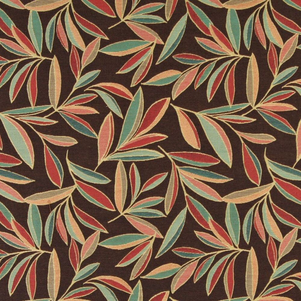 A0022b red blue green brown leaves contemporary upholstery for Modern fabrics textiles
