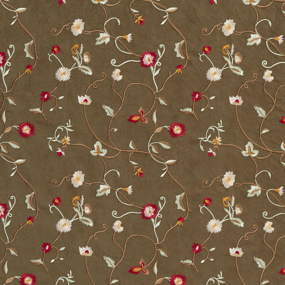 B green ivory red beige embroidered floral vines suede