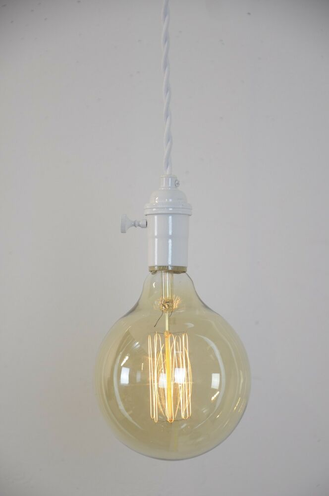 white painted brass pendant light fixture hanging plug in canopy vintage ebay. Black Bedroom Furniture Sets. Home Design Ideas
