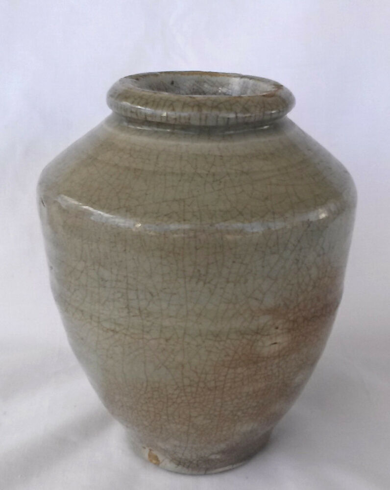 Ancient Early Chinese Celedon Crackle Pottery Vase 1 Ebay