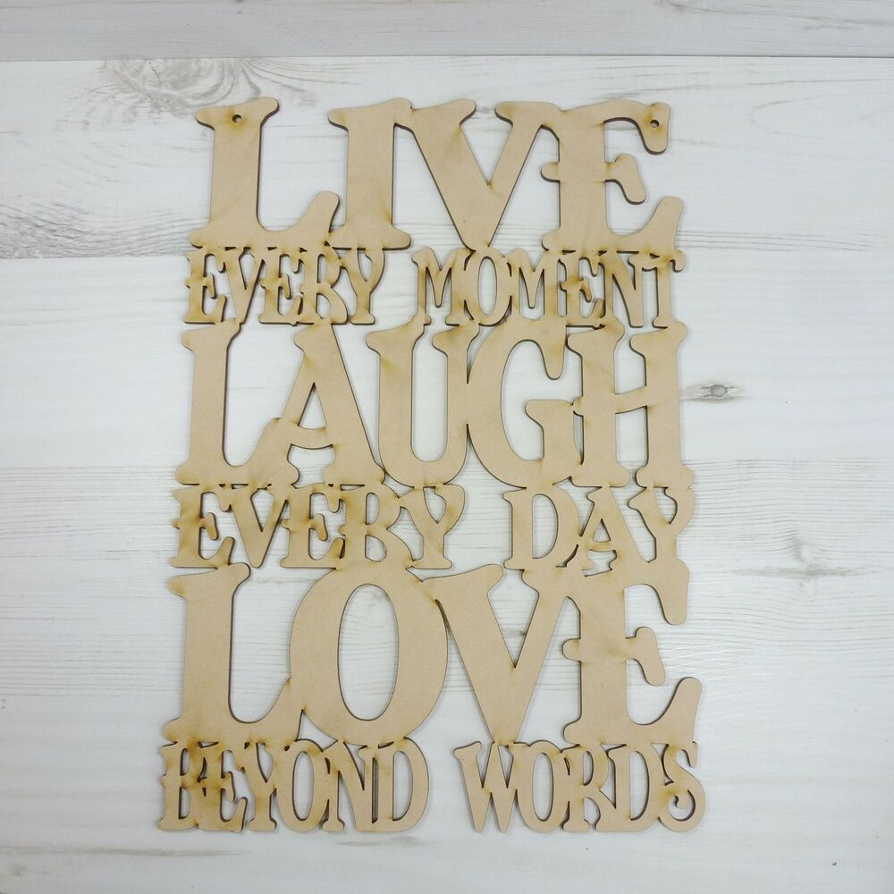 Wooden Words Wall Art : Sayings plaque live laugh love word door sign wood wall
