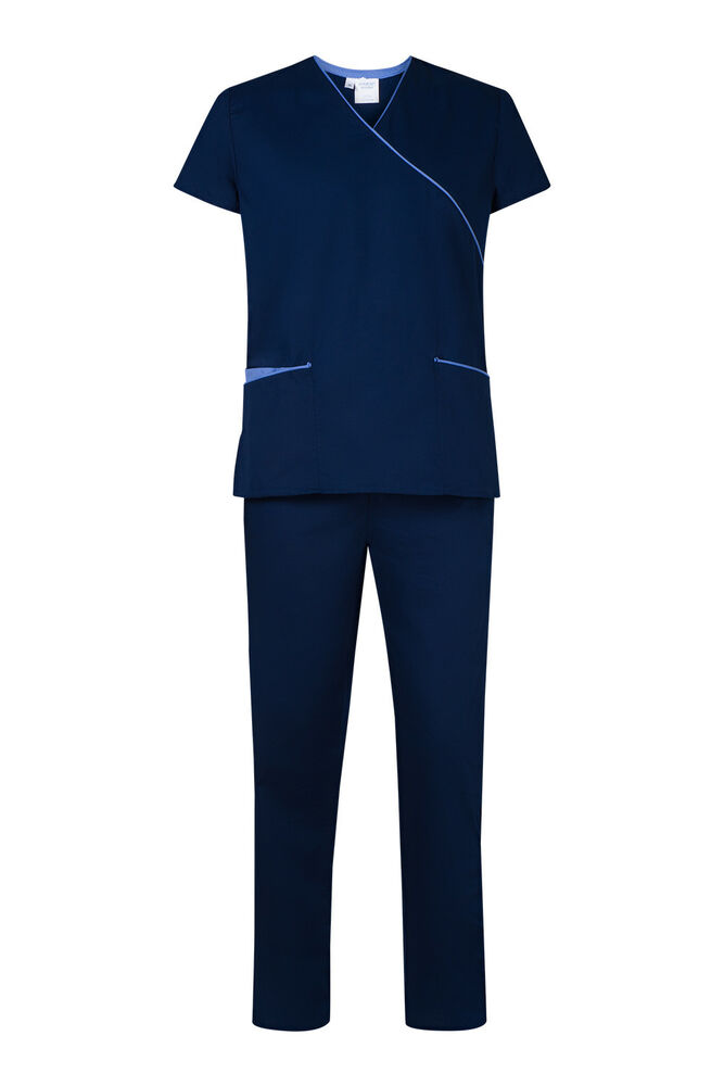 Medical Nursing Vet Ladies Mock Wrap Navy Blue With Ceil