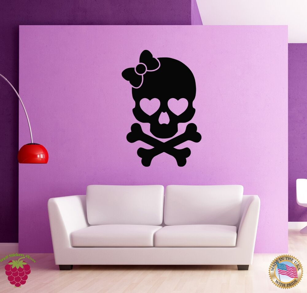 Wall stickers vinyl decal skull and bones girl funny cute for Cute little girl wall decals ideas
