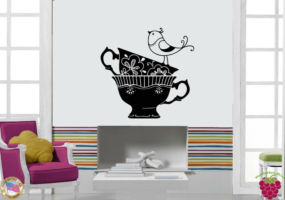 Wall Stickers Vinyl Decal Coffee Tea Cups With Bird Decor