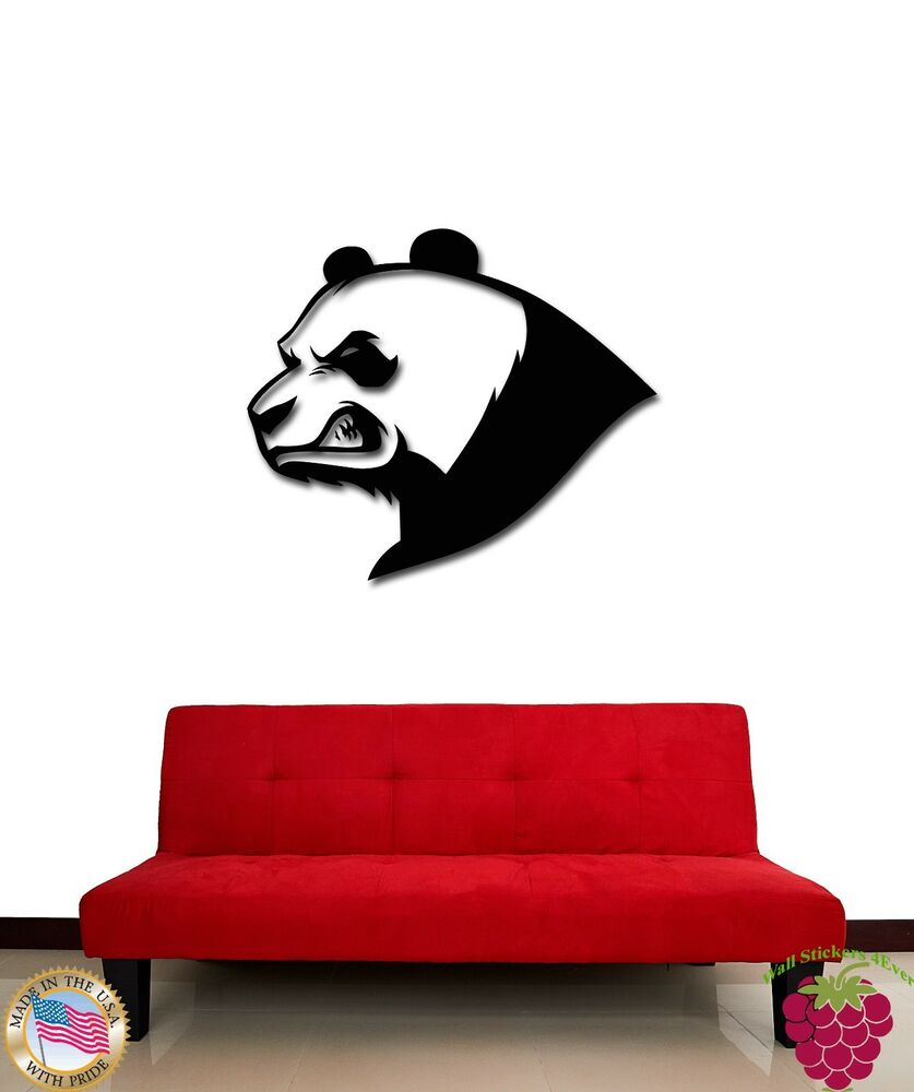 Wall stickers vinyl decal angry panda bear funny animal for Panda bear decor