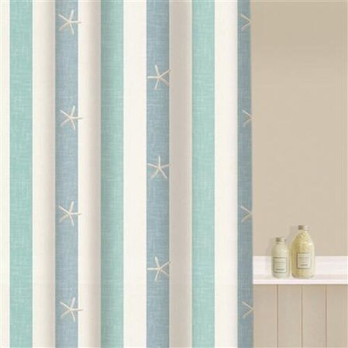 Quality Easy Care Polyester Beige Blue Nautical Star Fish 180x180 Shower Curt