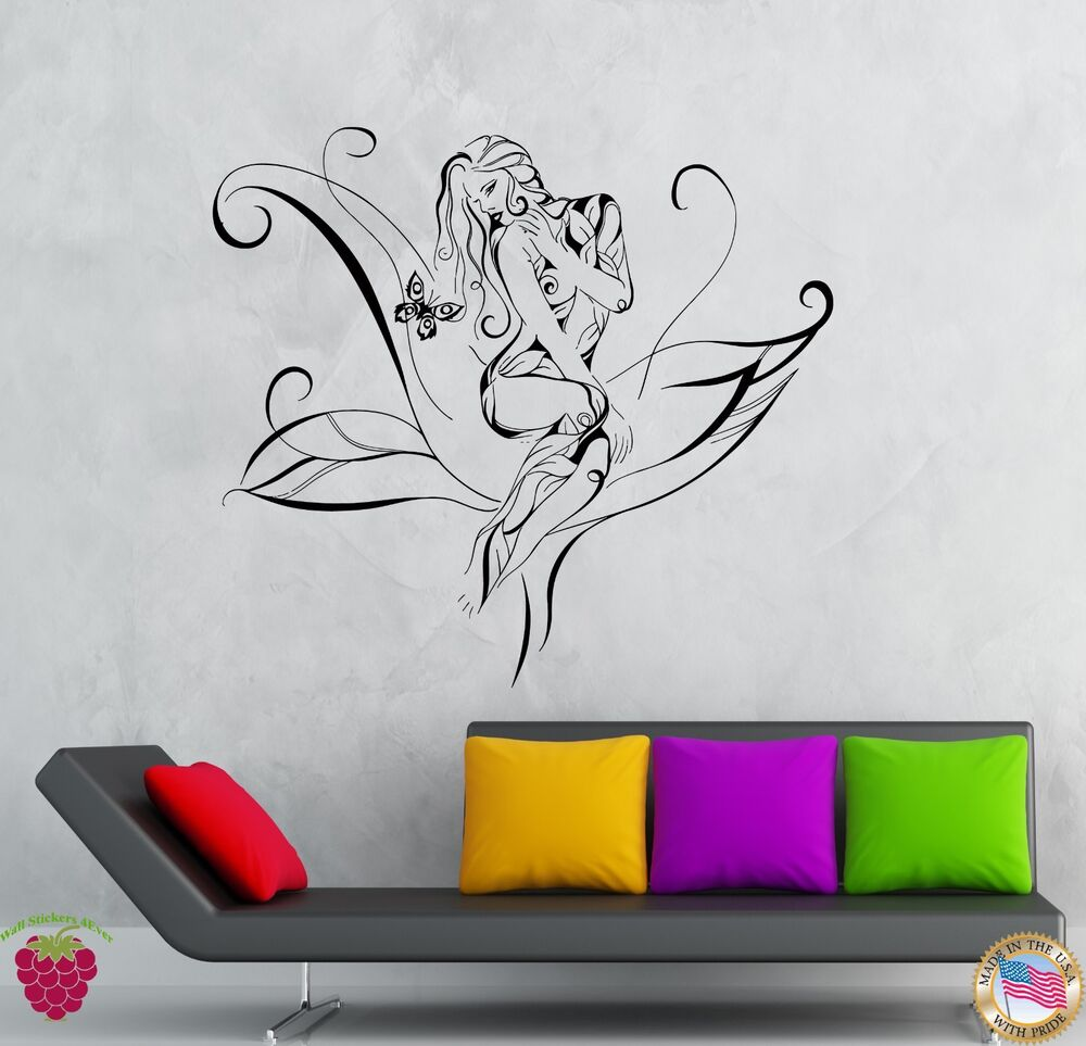 Wall stickers vinyl decal girl teen flower tree butterfly for Teen wall decor
