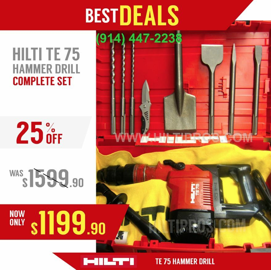 hilti te 75 hammer drill preowned free bits chisels fast shipping ebay. Black Bedroom Furniture Sets. Home Design Ideas