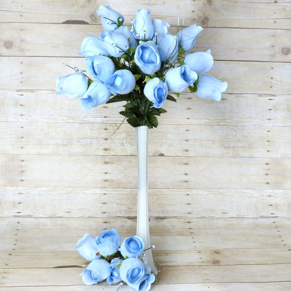 Light blue giant velvet rose buds wedding flowers