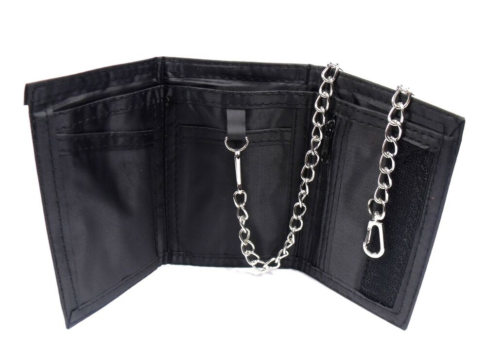 Mens black leather sports wallet with detachable chain ebay