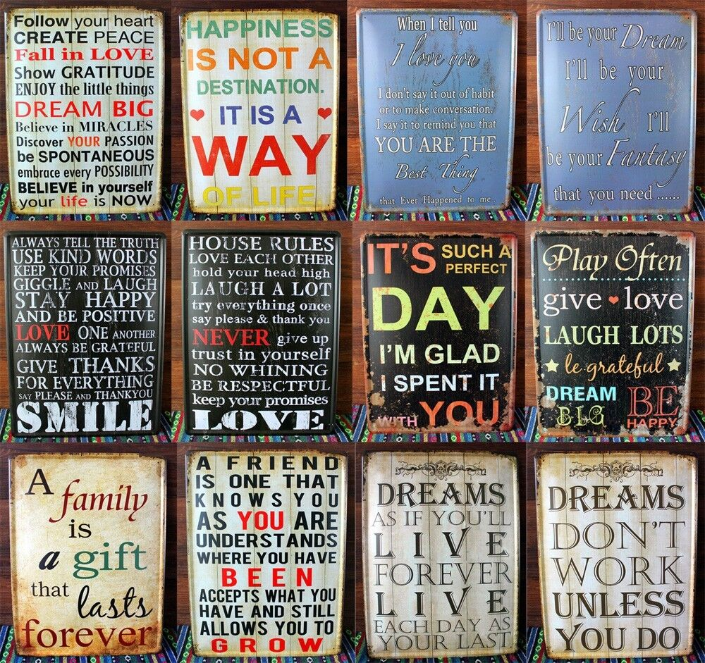 Wall Art Metal Sayings : Big inspirational motivational positive quote tin sign