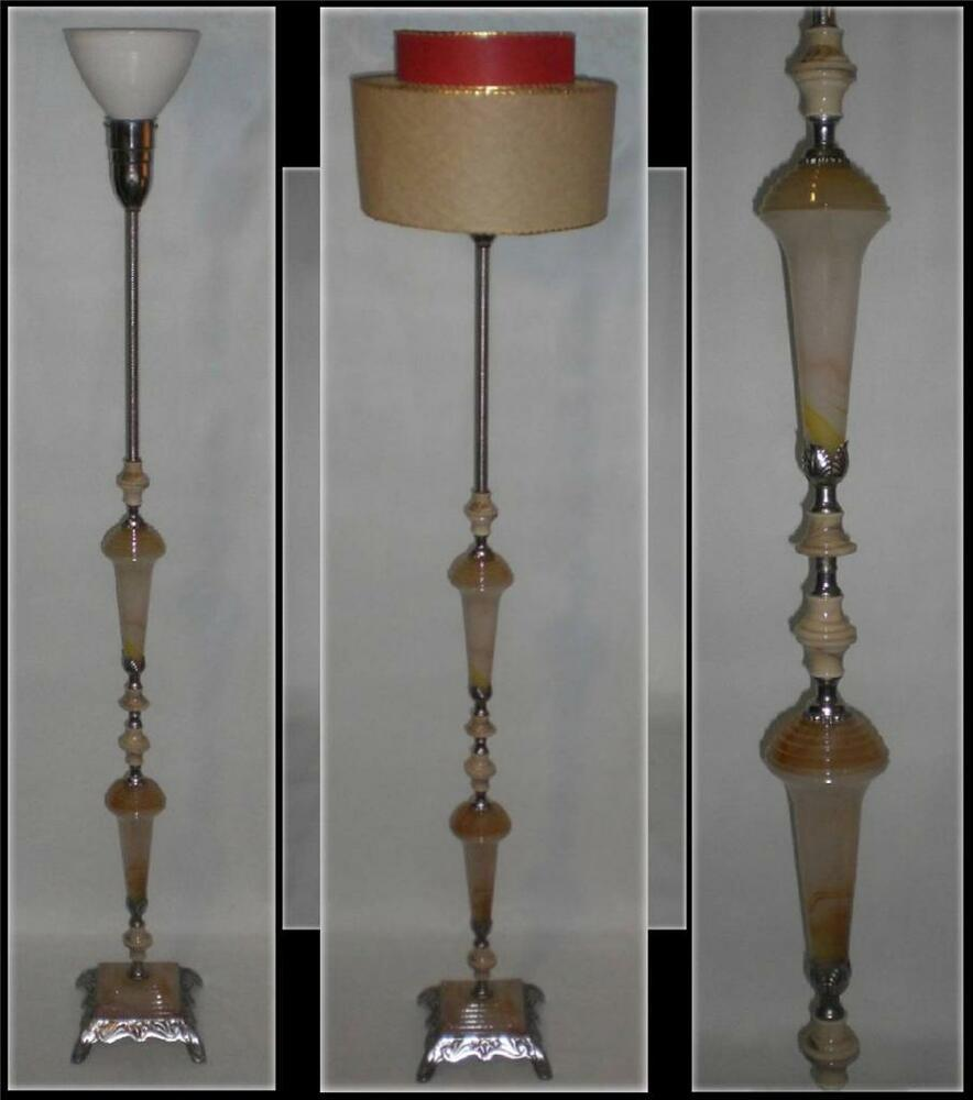 Huge Vintage 1930 Art Deco Floor Lamp W Spectacular Agate