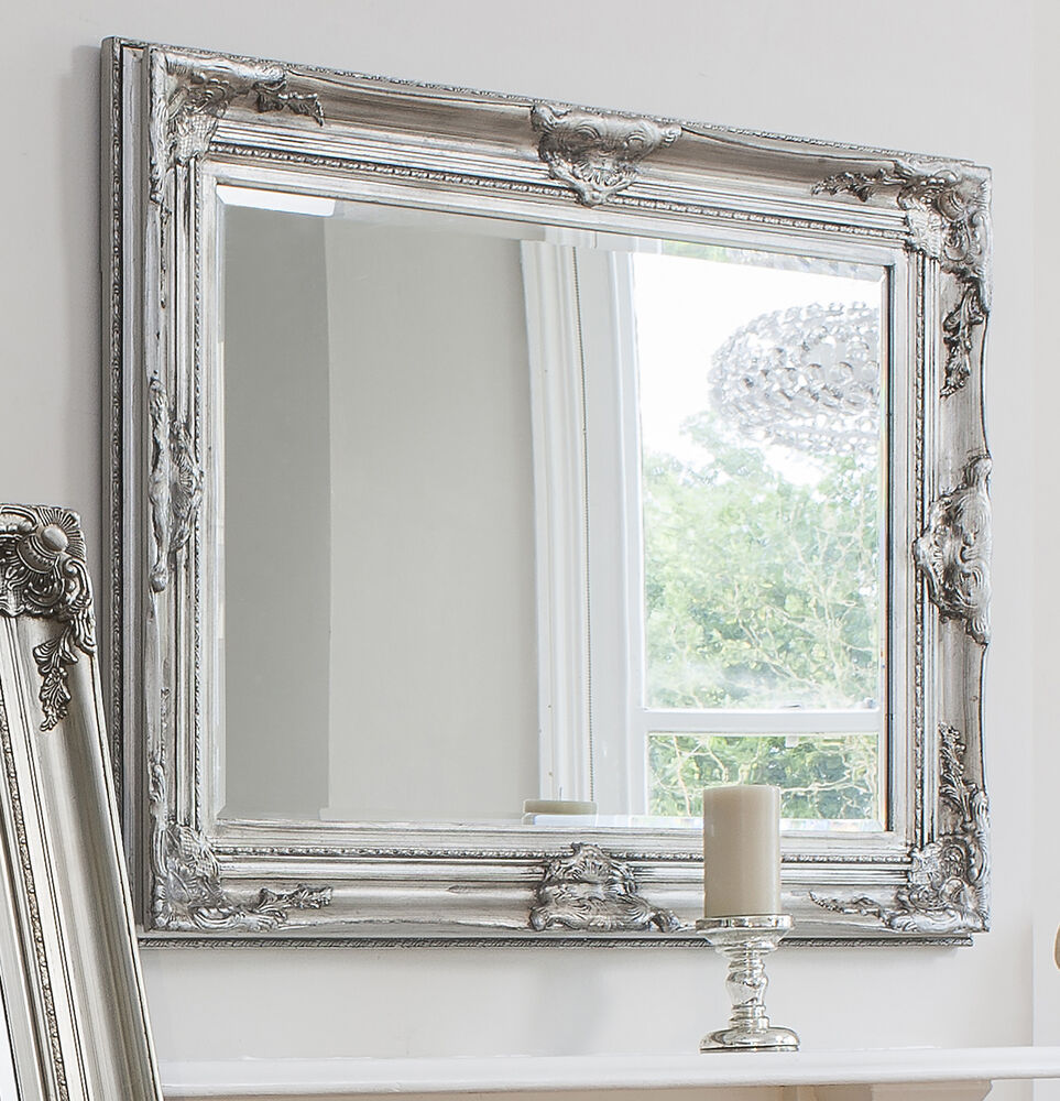 Harrow large silver rectangle wall mirror 45 x 33 ebay for Large silver wall mirror