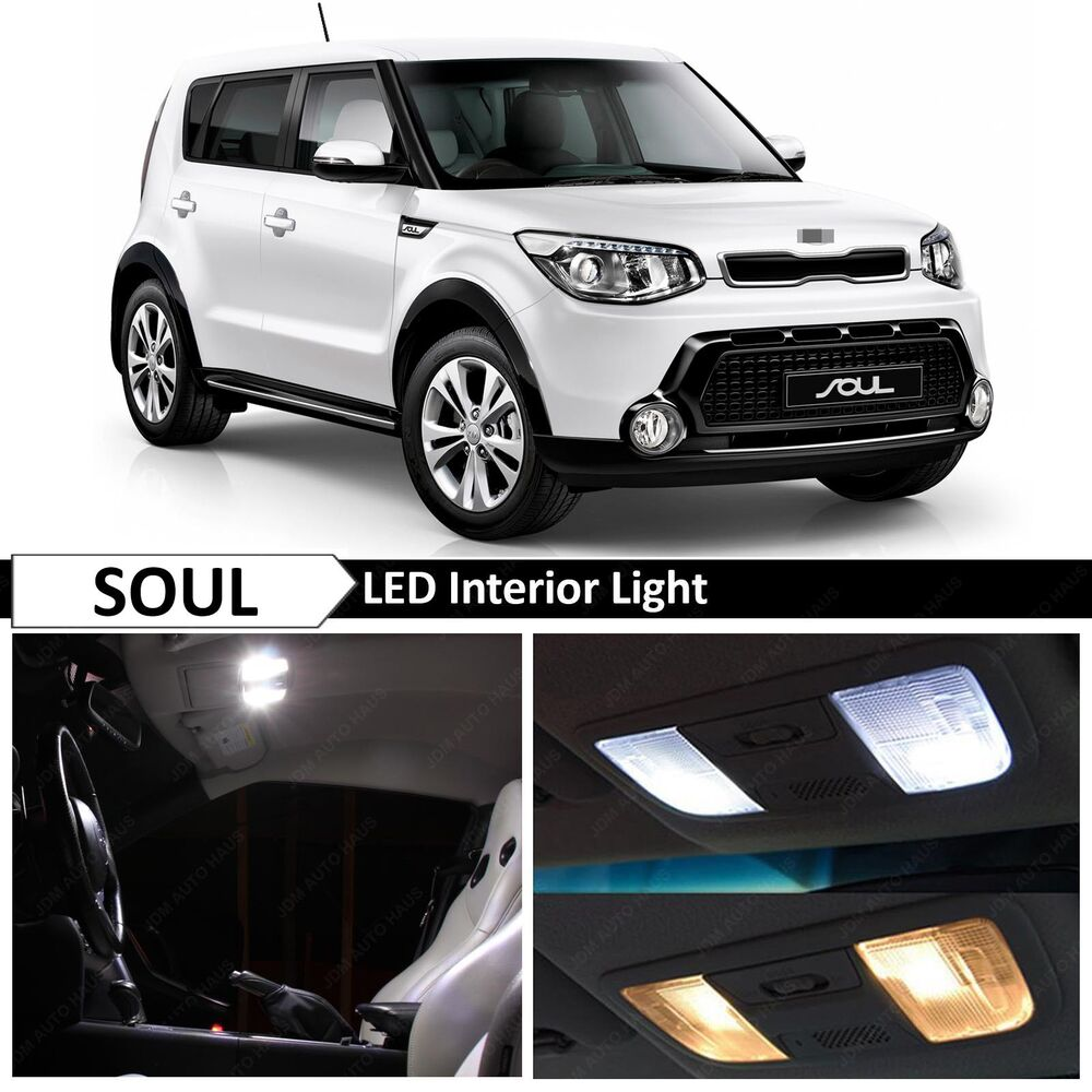 11x white led interior light package kit for 2014 2016 kia soul ebay. Black Bedroom Furniture Sets. Home Design Ideas