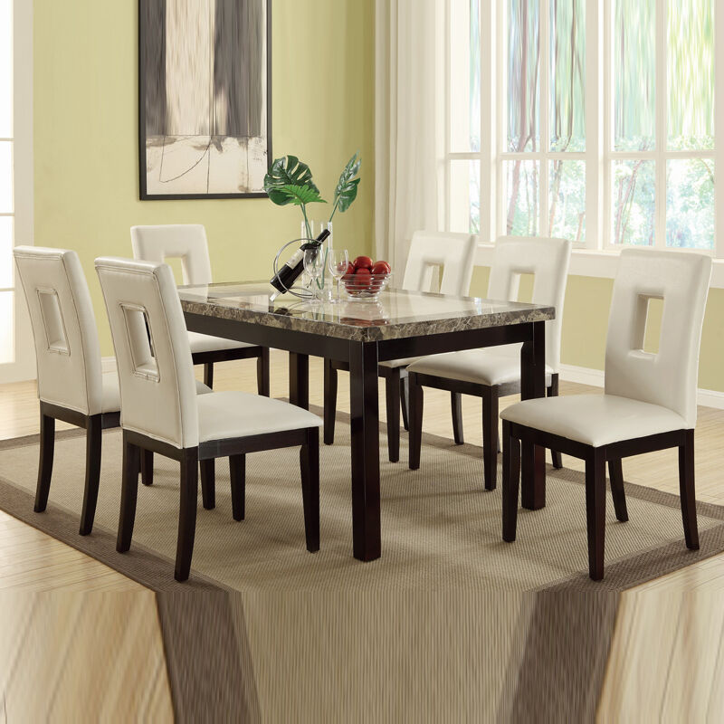 7 pc cream marble look table bycast leather upholstery for Cream kitchen set
