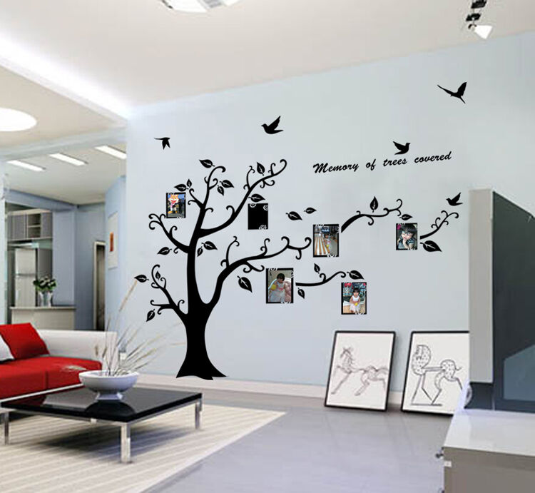 Hot sale large photo frame tree leaf art mural wall for Stickers pared baratos