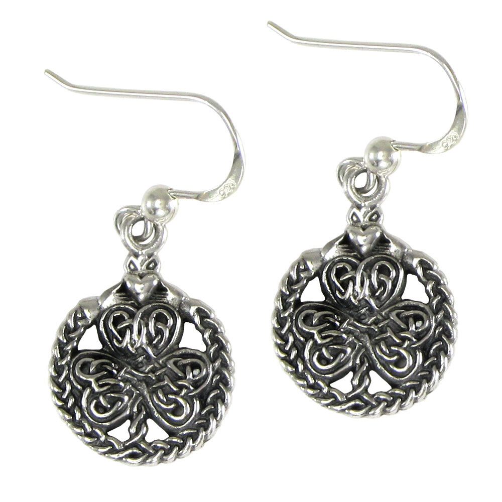 celtic knotwork earrings sterling silver celtic knot shamrock clover claddagh 1611