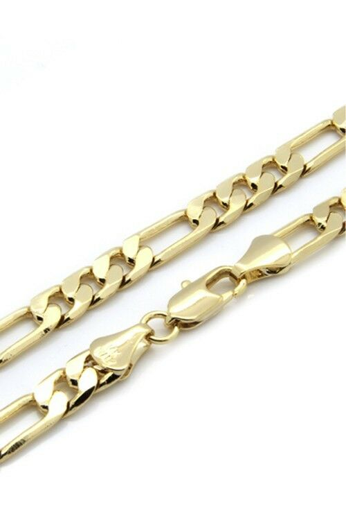 Mens 14k Gold Plated 5mm Italian Figaro Link Chain Necklace 24 Inches Ebay
