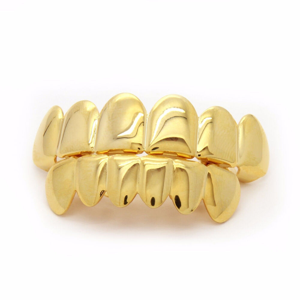 14K Gold Plated Hip Hop Teeth Grillz Top & Bottom Grill ...