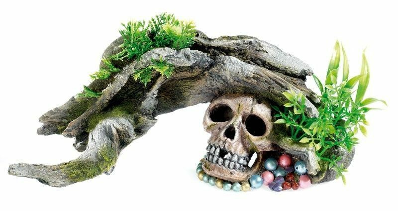 Classic Aquarium Wood with Skull & Plants Ornament Fish Tank ...