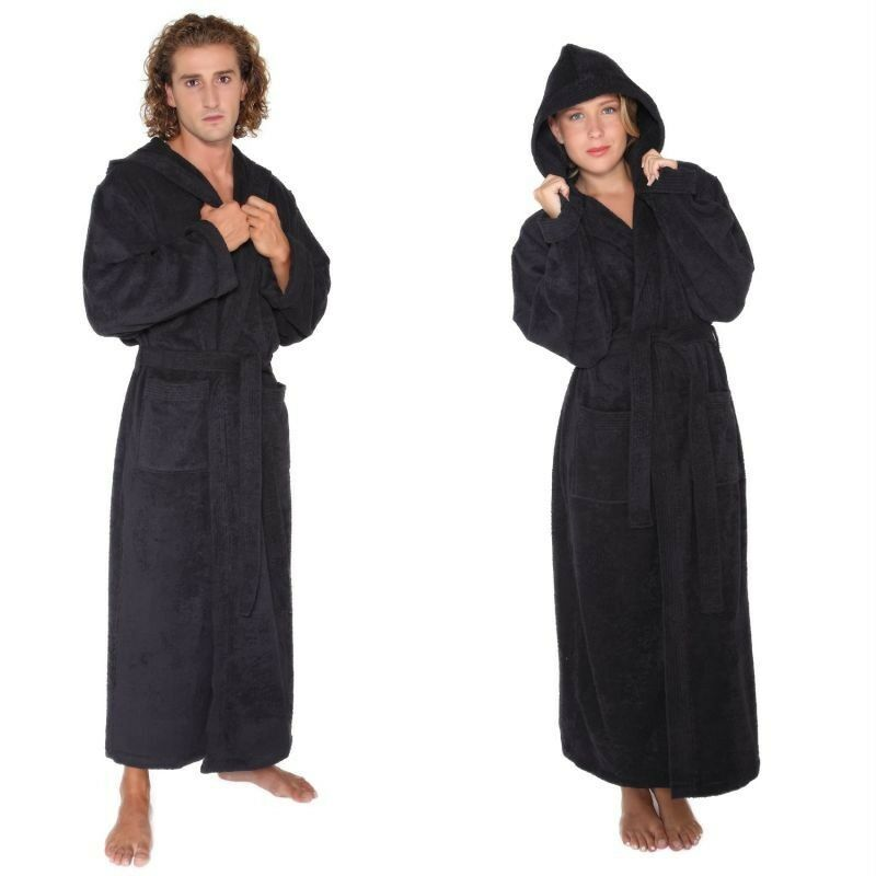 mens womens turkish cotton terry light weight hooded long bathrobe black ebay. Black Bedroom Furniture Sets. Home Design Ideas