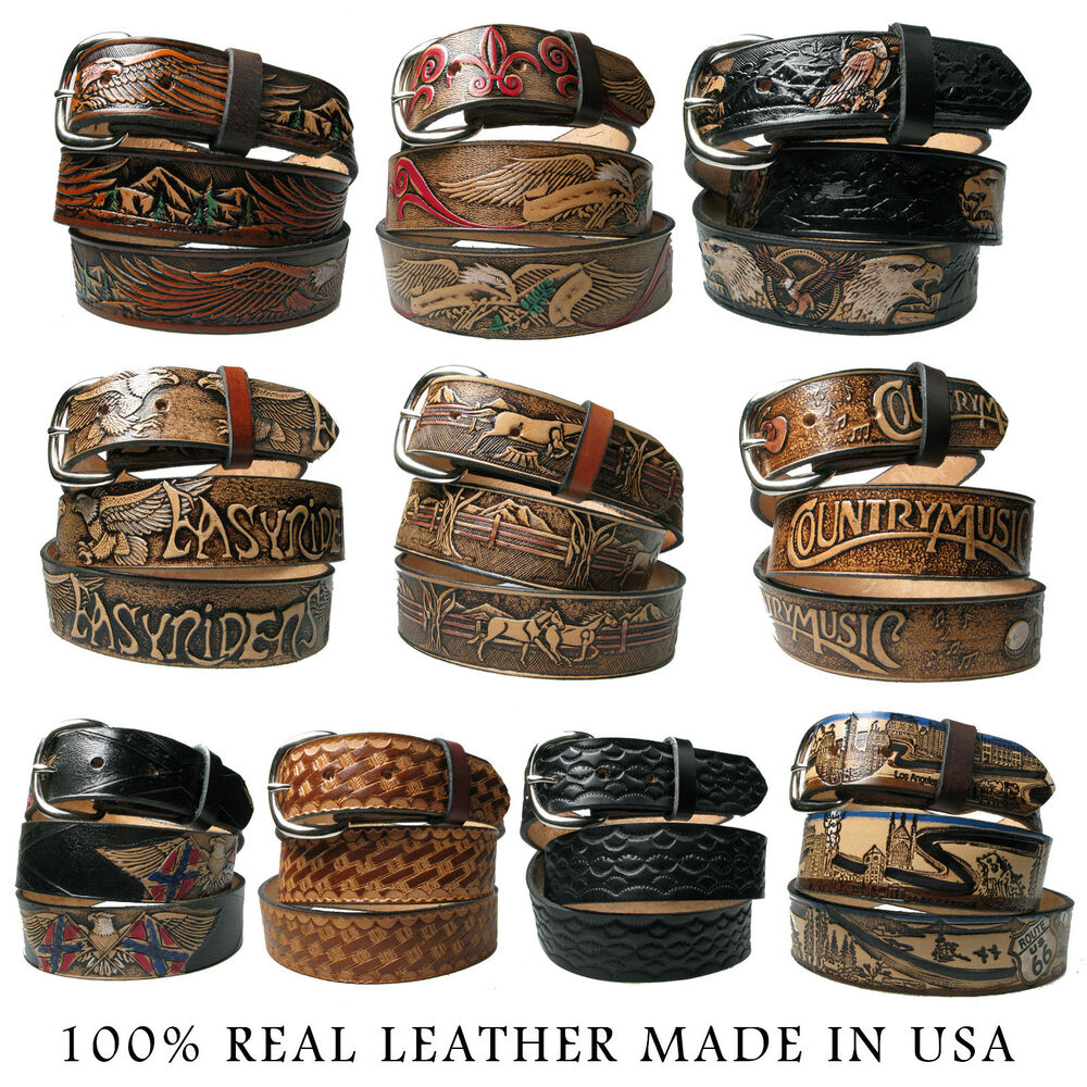 genuine real leather country and western american belt