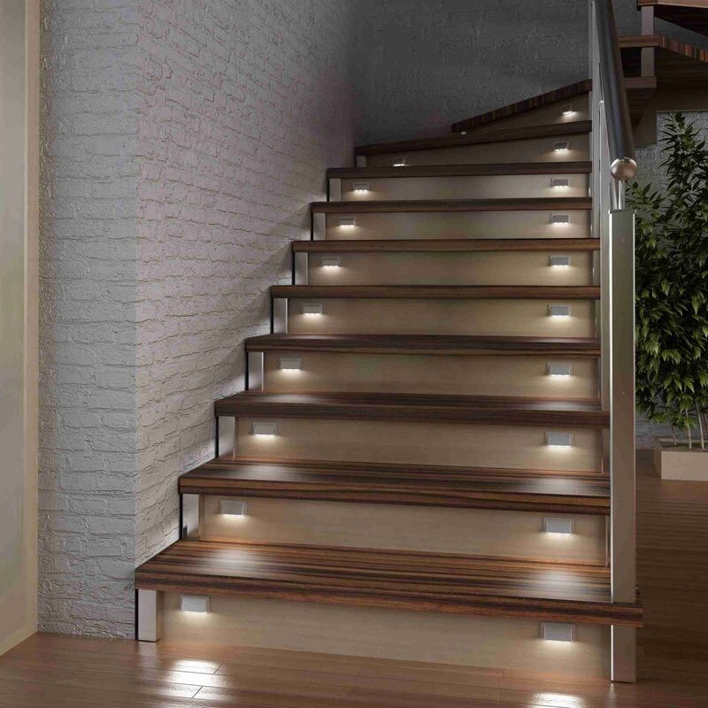 led treppen stufen sockel beleuchtung leuchte 12v dc 0 3w einzel u kompl sets ebay. Black Bedroom Furniture Sets. Home Design Ideas