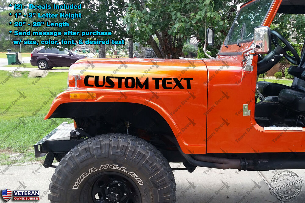 Custom text hood vinyl decal fits jeep wrangler ford dodge for Custom jeep lettering