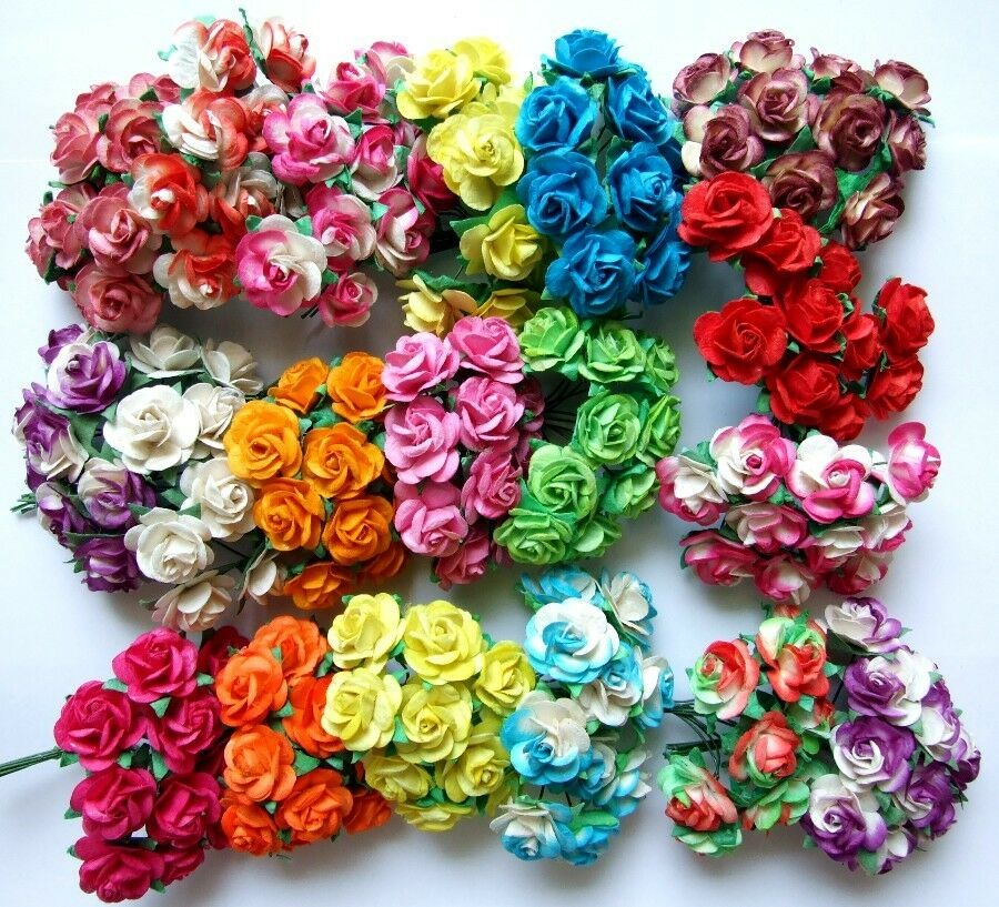 100 MIXED ROSE MULBERRY PAPER FLOWER CRAFT ARTIFICIAL ...