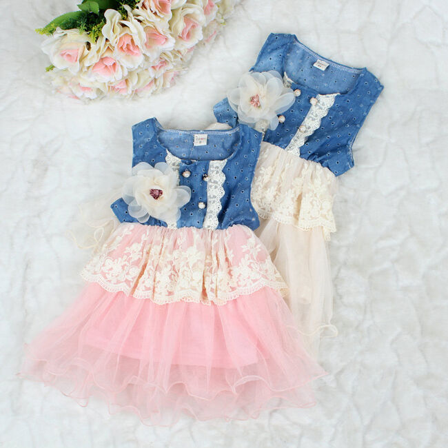 Baby Girl Princess Tulle Skirt Denim Dress Kids Lace ...