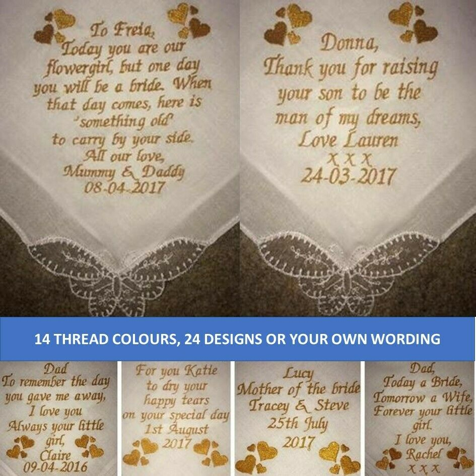 ladies  gents personalised handkerchief hanky embroidery embroidered wedding gift