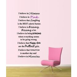 I Believe in Manicures, I Believe in Pink ~  Wall or Window Decal