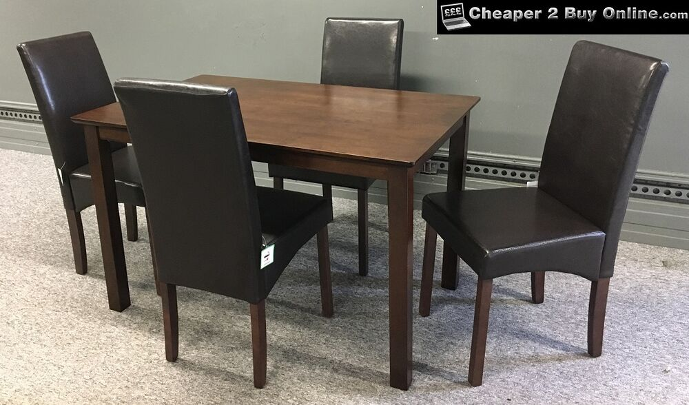 DINING TABLE AND CHAIRS IN BROWN FAUX LEATHER WITH 4 DARK OAK WALNUT FINISH N