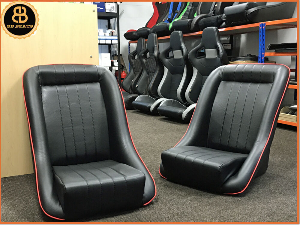 pair classic bb1 red piping clubman bucket seats classic car hot rod kit car ebay. Black Bedroom Furniture Sets. Home Design Ideas