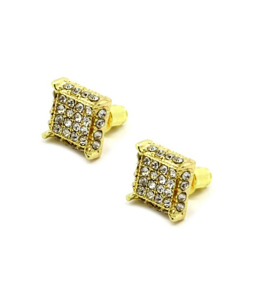 icedout earrings mens gold clear cz cube iced out hip hop micro pave stud 6517